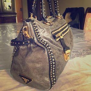 Prada Studded Crackled Leather Bag with Push Lock